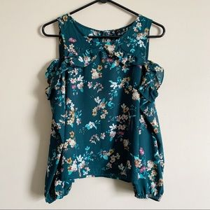 IRIS / teal floral cold shoulder ruffle top / M
